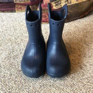 Crocs Navy blue pull on rain rubber boots sz 12